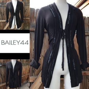 BAILEY 44 Gray Charcoal tie front Drape Cardigan